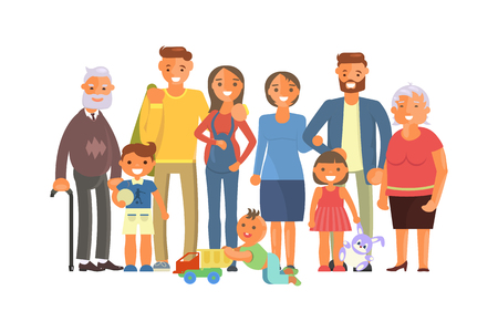 Big family portrait including kids, parents and grandparents. Cartoon characters isolated on white background. Vector illustration eps 10