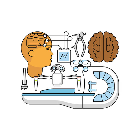 Medical aid concept in flat line style. Neurosurgery and homogeneous knife icons isolated on white background. Vector illustration eps 10 Illustration