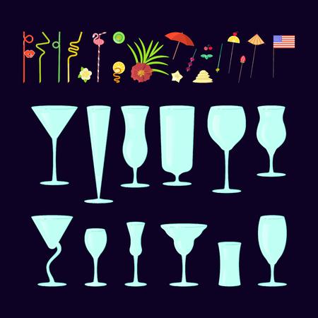 Creatore esotico di cocktail drink. Set di diverse forme di vetro coctail e cannucce, ombrelloni, ombrelloni, stuzzicadenti per la decorazione del partito. Illustrazione vettoriale eps 10