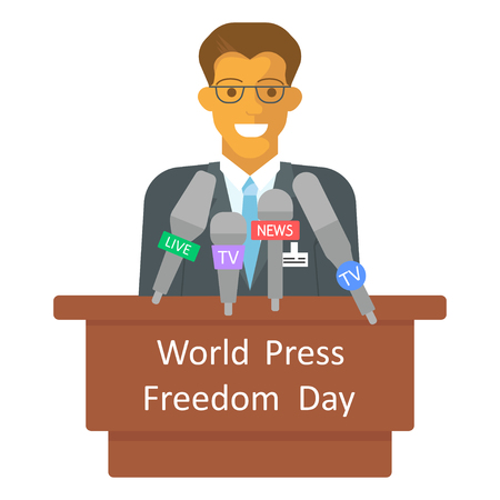 World Press Freedom Day, with man talking in microphone