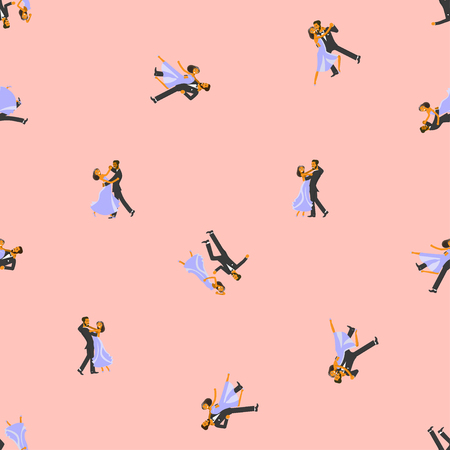 Bright colored ballroom dancer seamless pattern.