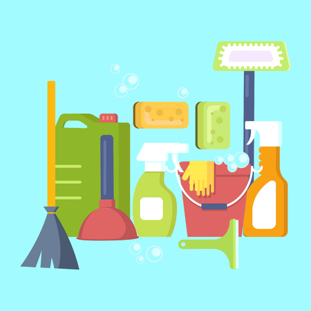 Cleaning equipment in flat design