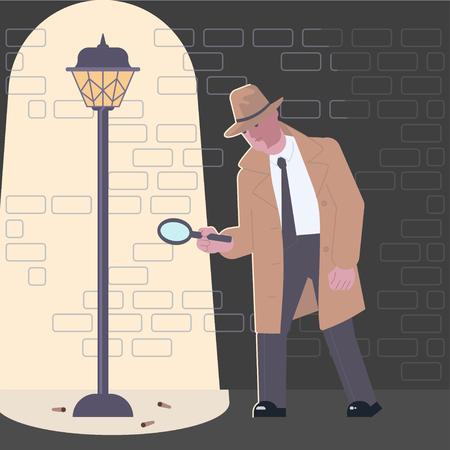 Detective character at crime scene