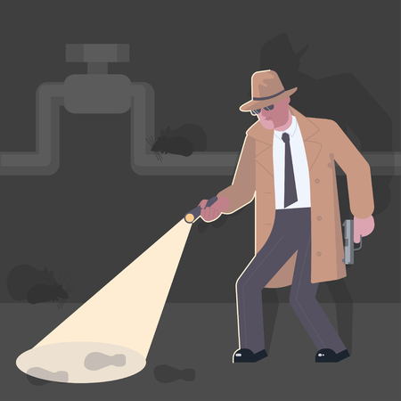 Detective with a gun illustration
