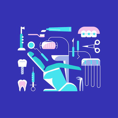 Dental icons on a purple background Illustration