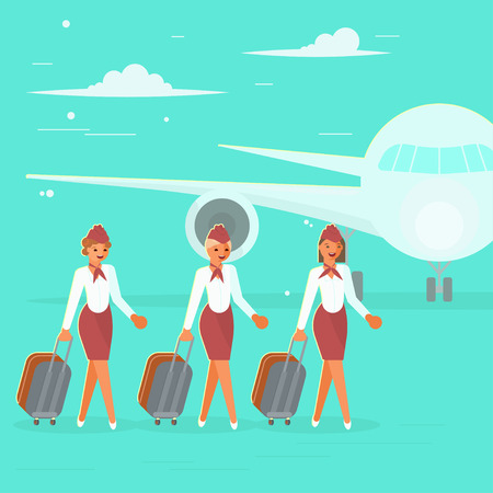 Stewardesses characters with suitcase