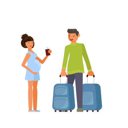 Traveling couple of young people  イラスト・ベクター素材
