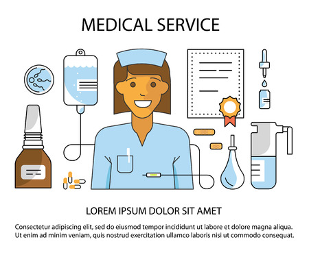 Main page layout for medical service website in modern flat line style. Diagnosis, science and a lot of medicine icons. Vector illustration eps 10