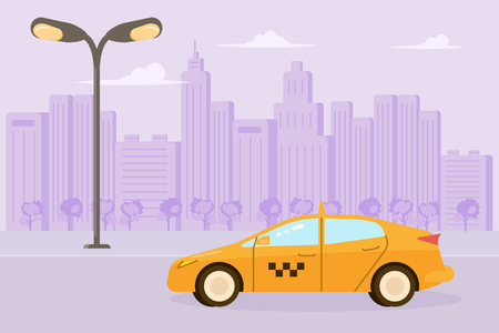 Yellow taxi car isolated on city background in flat design. Vector illustration eps 10 Vettoriali