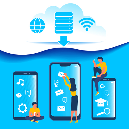 Business people, man and woman using cloud computing services and technology, data storage flat. Network data storage design for mobile and web graphics concept. Vector illustration eps 10
