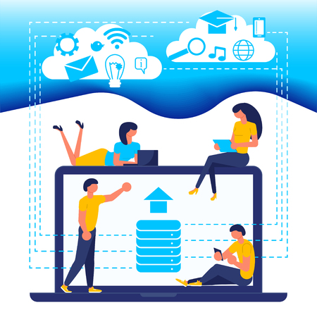 Business people, man and woman build diagram, discuss business plan, in flat modern style. Concept for business analysis and planning, consulting, team work, project management, financial report and strategy. Vector illustration eps 10