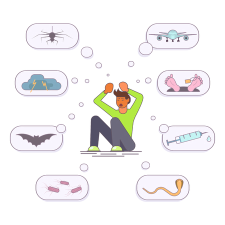 Mental health problems concept in flat design. Scared man with phobias. Aerophobia, arachnophobia, nyctophobia, claustrophobia, acrophobia, aquaphobia. Vector illustration eps 10