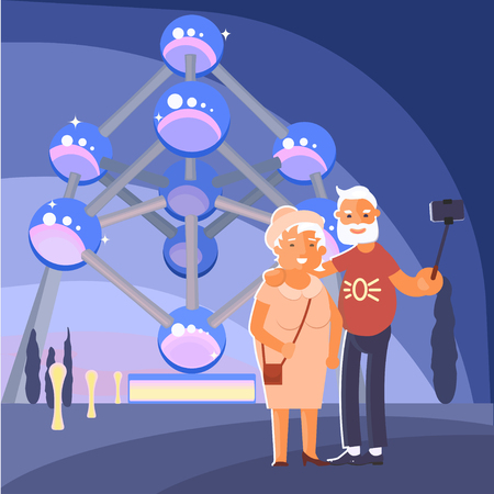 Healthy active lifestyle retiree for grandparents. Elderly people characters travel. Voyage for grandparents family Seniors make a selfie on Atomium view in Brussel Belgium. Vector illustration eps 10