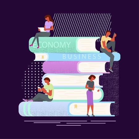 readers sitting on books