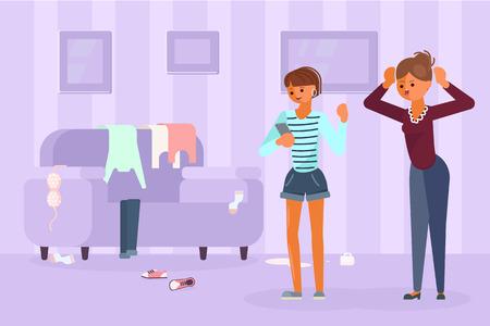 Ouder adolescent conflict concept. Moeder scheldt dochter tiener uit voor rommel in de kamer. Vector illustratie eps 10