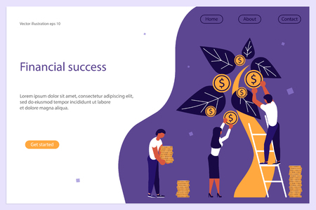 Web banner design template. Business people, man and woman plant a money tree or picking dollars from money tree. Business growth, financial success concept. Vector illustration eps 10  イラスト・ベクター素材