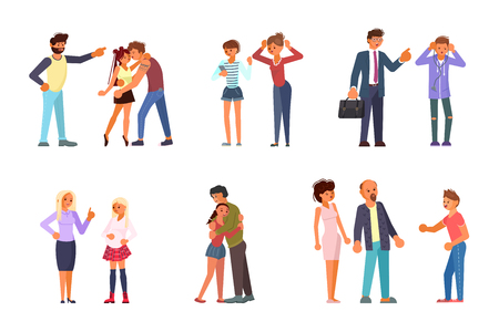 Parent Adolescent conflict concept in flat design. Set of teens and parents in different situations. Vector illustration eps 10 Illustration