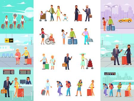 Personajes de diferentes viajeros con equipaje en el aeropuerto. Conjunto de hombre, mujer, amigos, familia con pasajeros de niños y azafata en estilo de dibujos animados plano aislado en blanco. Ilustración vectorial eps 10