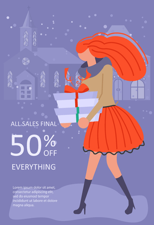 Vertical Banner for Christmas sale. People running after shopping, tearing off discount coupons from a Xmas tree. Vector illustration eps 10