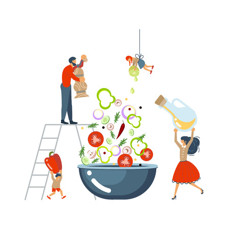 Happy happy family cooking together a salad concept. Poster, banner template for cooking master class in flat. Dad, mom, daughter, son enjoys of cookery. Vector illustration eps 10 Illustration