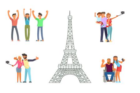 Estilo de vida activo y saludable. Los personajes de personajes jóvenes y ancianos viajan. Viaja por Europa y haz una foto en la vista de la Torre Eiffel en París. Ilustración vectorial eps 10