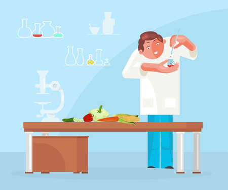 Diet researching concept in flat design. Dietician doctor testing food products in lab. Vector illustration eps 10 Vettoriali