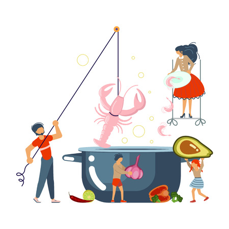 Happy family cooking together a sea food soup concept. Poster, banner template for cooking master class in flat. Dad, mom, daughter, son enjoys of cookery. Vector illustration eps 10