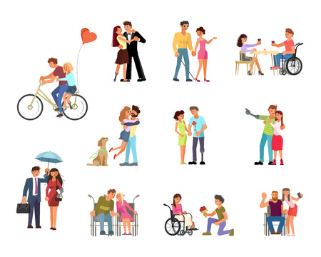 Bundle of different types of romantic relationships and marriage of disabled people isolated on white background. Love and dating diversity in flat design. Vector illustration eps 10