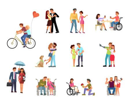 Fascio di diversi tipi di relazioni romantiche e matrimonio di disabili isolati su sfondo bianco. Amore e incontri diversità in design piatto. Illustrazione vettoriale eps 10