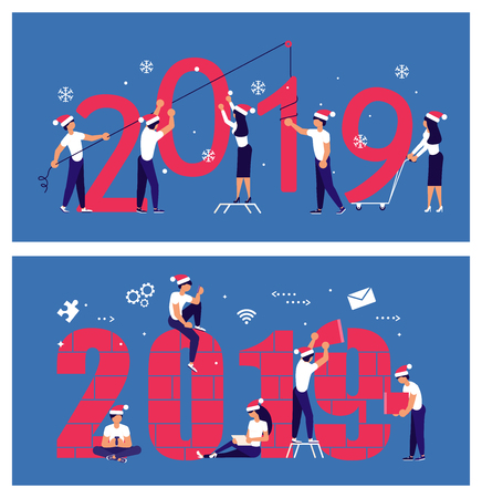 Business people in Santa Hat, man and woman building a numbers 2019, in flat modern style. preparing to meet the new year . Office Team are preparing to meet the new year. Vector illustration eps 10