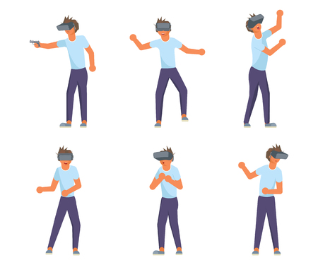 VR user character set. Teens school boy using virtual reality glasses. Vector illustration eps 10 Ilustração