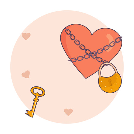 Valentines day banner. Golden key and locked heart. Vector illustration eps 10.