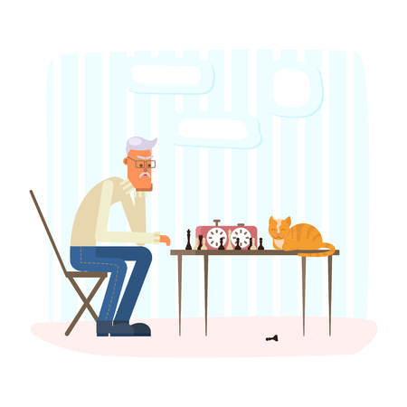 Lonely old man playing chess with a ginger cat. Vector illustration eps 10