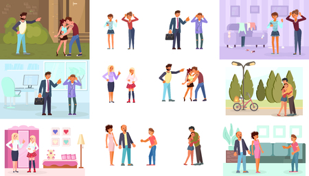 Parent Adolescent conflict concept in flat design. Set of teens and parents in different situations. Vector illustration eps 10 Ilustração