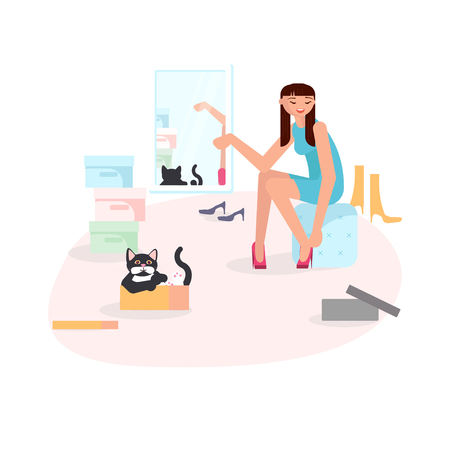 Girl putting on shoes and her cute black cat looks out from the box. Vector illustration