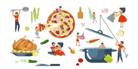 Happy family cooking together set for cooking master class in flat. Dad, mom, daughter, son enjoys of cookery. Vector illustration eps 10