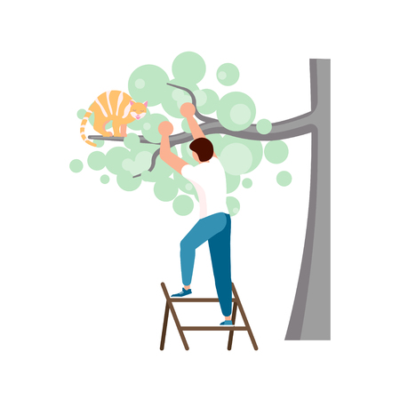 Man is climbing up the ladder to save a ginger cat from a high tree. Vector illustration eps 10