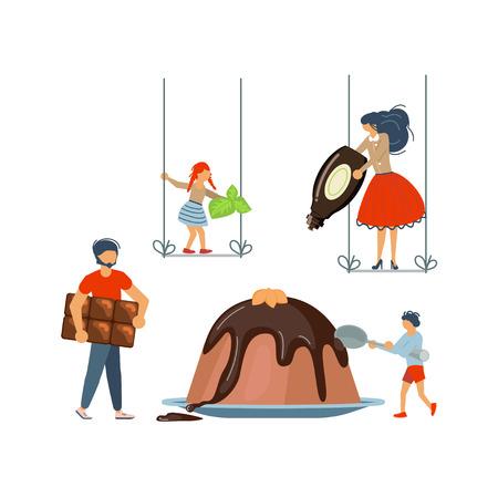 Famille heureuse cuisinant ensemble un concept de pudding schokolade. Affiche, modèle de bannière pour la classe de maître de cuisine à plat. Papa, maman, fille, fils aime la cuisine. Illustration vectorielle