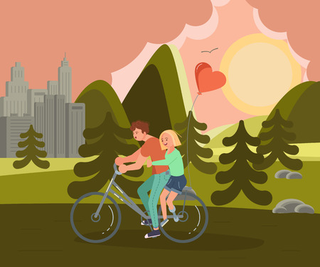 Concept of romantic relationships and marriage of disabled people isolated. Couple of lovers is riding a bike. Love and dating in flat design. Vector illustration eps 10