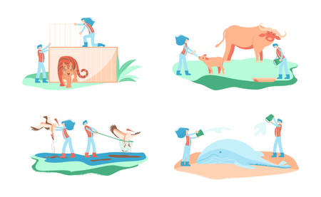 Wild animal rescue concept. Male and female rescuers feed, treat rare animals. Vector illustration eps 10 Illustration