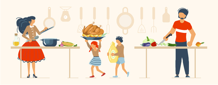 Happy family cooking together a turkey for thanksgiving day concept. Poster, banner template for cooking master class in flat. Dad, mom, daughter, son enjoys of cookery. Vector illustration eps 10 Ilustração