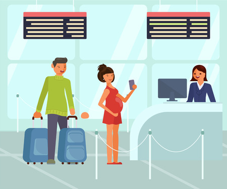 Vacation and travel concept. Travelers characters with luggage at the airport. People queue near registration desk. Vector illustration eps 10