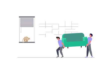 Concept for Transport company isolated on white background. Movers carring a sofa and cardboard boxes. Moving House and office. Vector illustration eps 10 Ilustração