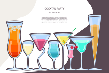 Flyer for night cocktail party. Colorful sign, bright alcoholic signboard, light banner. Vector illustration eps10