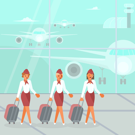 Stewardesses characters with suitcase. Beautiful flight attendants, air hostess go to the airplane by the airfield. Vector illustration eps 10