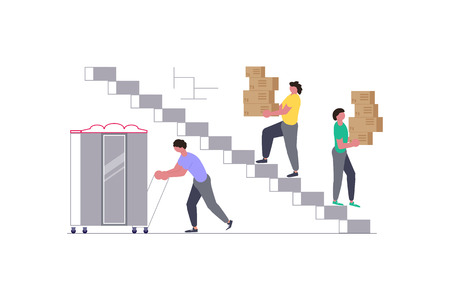 Concept for Transport company isolated on white background. Movers carring a cupboard and cardboard boxes. Moving House and office. Vector illustration eps 10