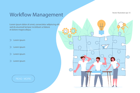 Web banner design template. Workflow management concept in flat design. Team of young businessmen have a business meeting and brainstorming. Vector illustration eps 10