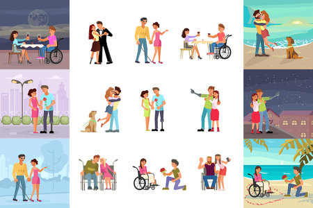 Big set of different types of romantic relationships and marriage of disabled people isolated on white background. Love and dating diversity in flat design. Vector illustration eps 10 Ilustração