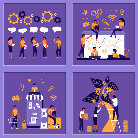 Business people, man and woman building a new idea, in flat modern style. To join in a merger make a deal or collaborate concept. Vector illustration eps 10 Ilustração