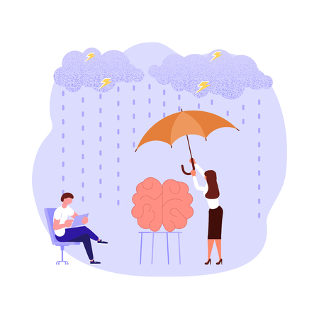 Mental health problems concept in flat design. Scientists neurobiologists research the human brain. Vector illustration eps 10